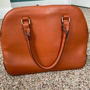 A NEW DAY TRIPLE COMPARTMENT SATCHEL MAPLE